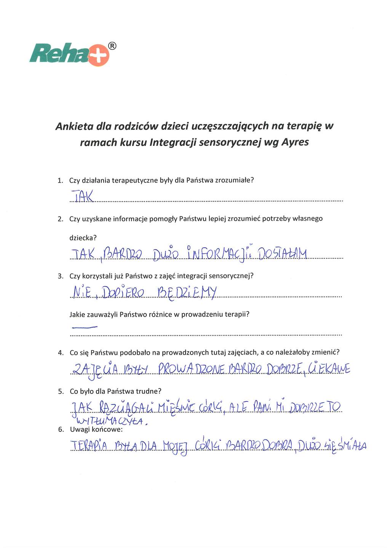 Terapia integracji sensorycznej wg Ayres - ankieta
